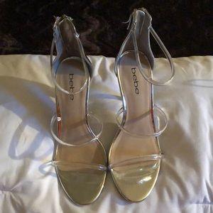 BEBÉ clear/silver heels